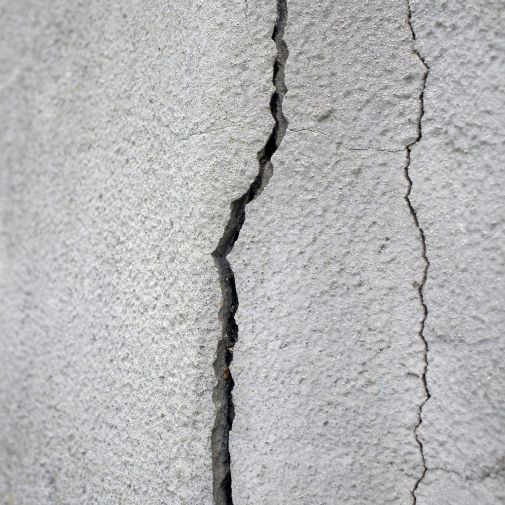 cracks through a slab due to a leak