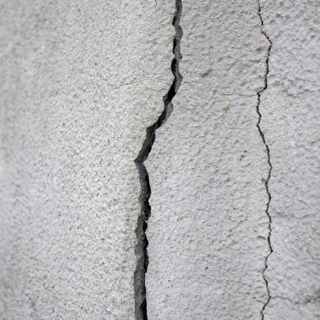 cracks through a slab due to a leak